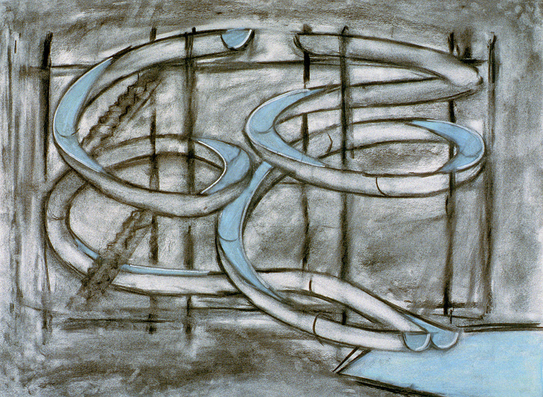 Water Slide, Charcoal and pastel