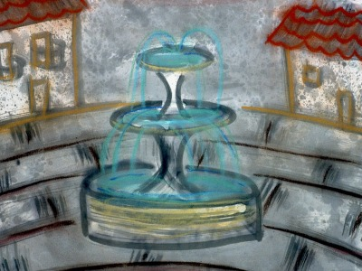 Plaza Fountain, Ink and chalk